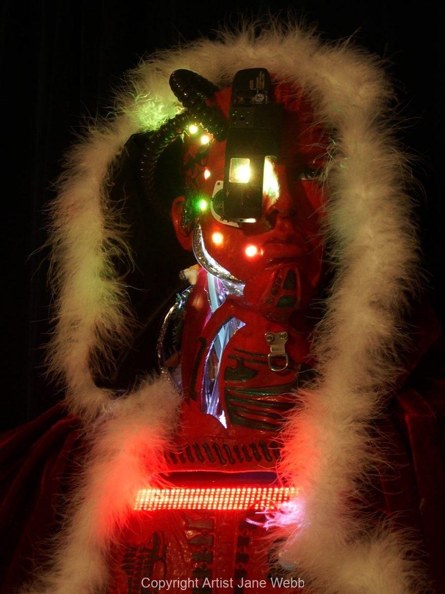 Illuminated-Santa-robot-futuristic-art-Jane-Webb