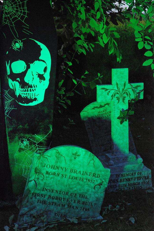 Graveyard props for Halloween by artist Jane Webb