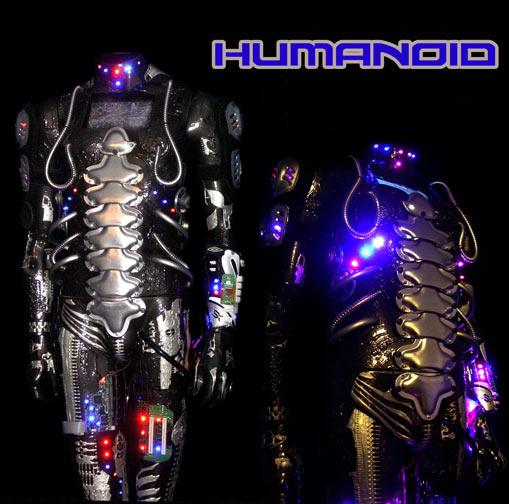 Humanoid robot by light artist Jane Webb