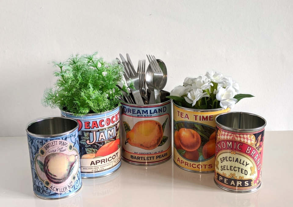 Cutlery holder table tin cans