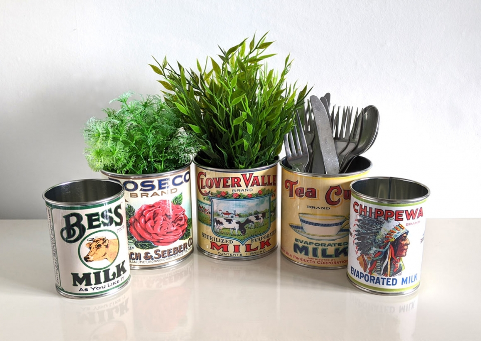 replica vintage food tin cans great props