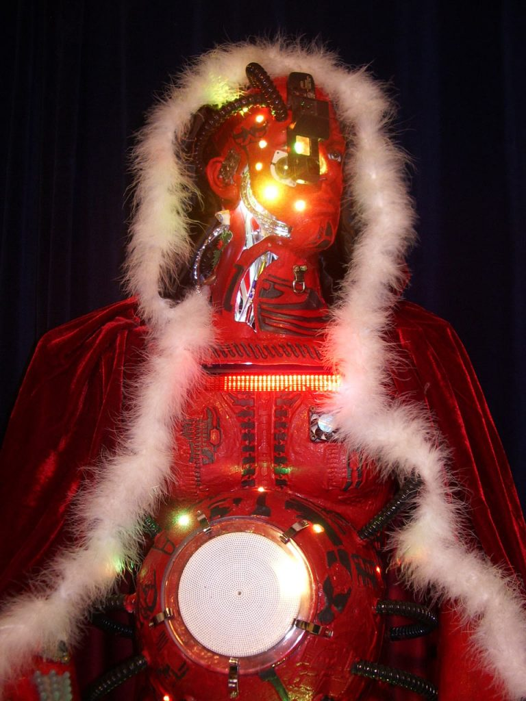 Christmas robot Santa made from recycled junk