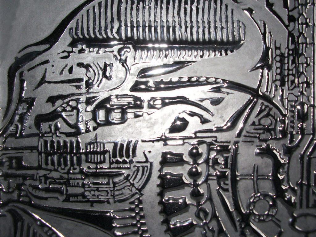 HR Giger style art alien glass