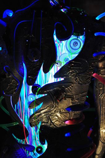glowing art sculpture detail