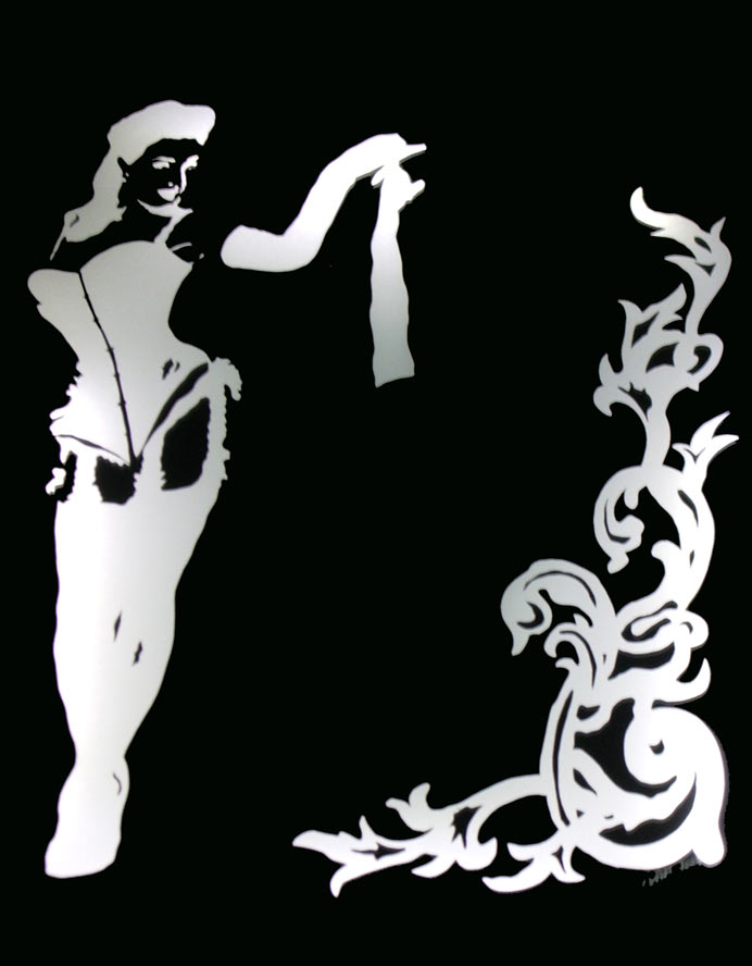 Burlesque Dita Von Teese illuminated art by Jane Webb