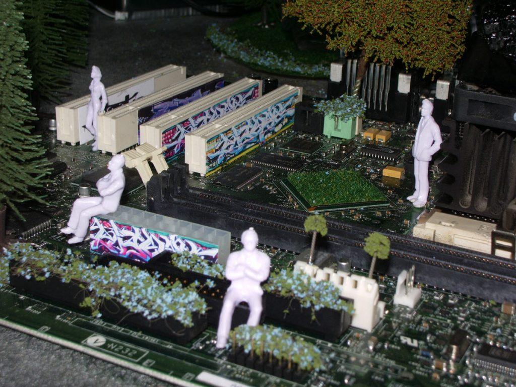 circuit board city by artist Jane Webb