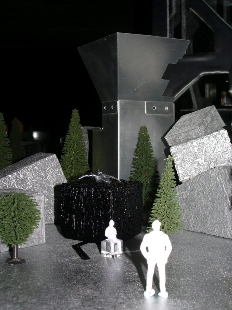 cast metal cyber city installation