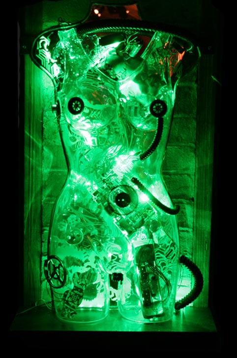 cyborg female illuminating art