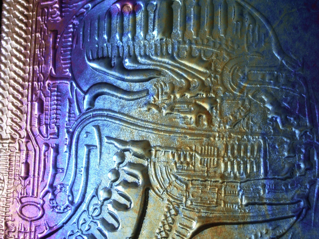 slumped glass art Giger alien