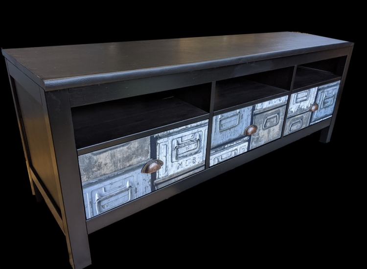 recycled industrial style tv unit