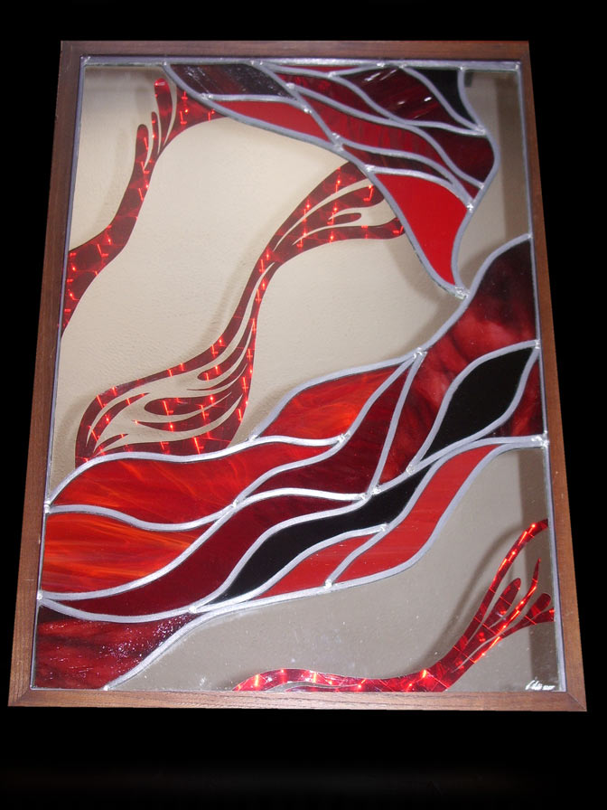 red and mirror stained glass wall art panel