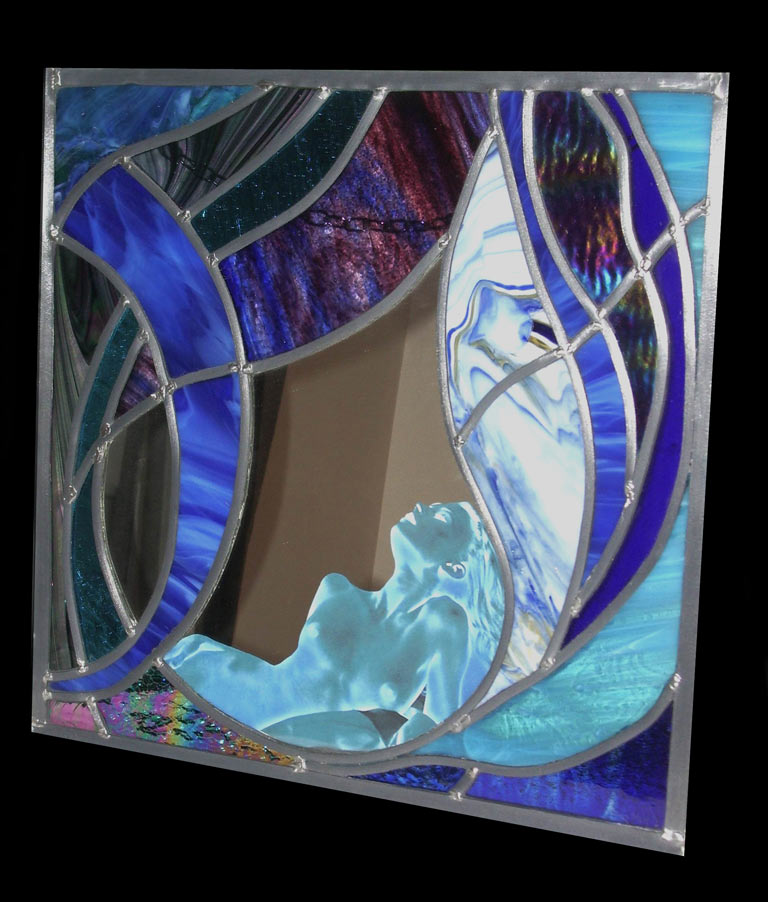 stained glass panel modern nude wall art