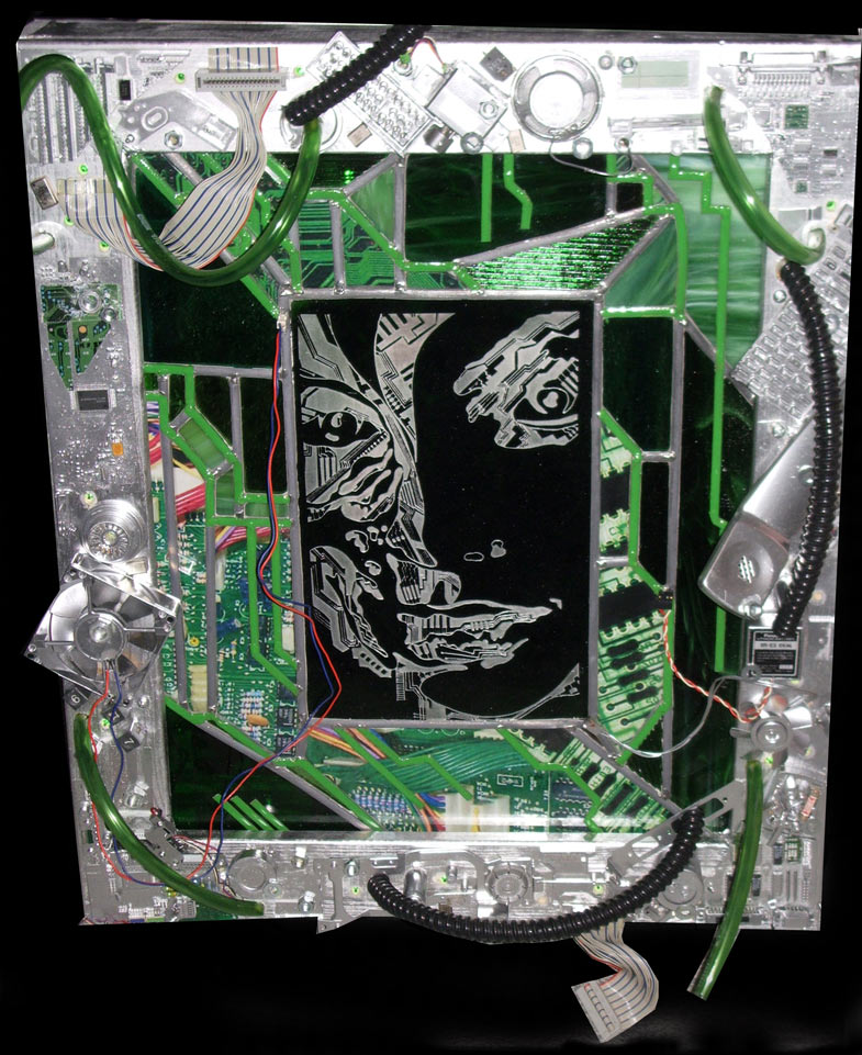 stained glass and recycled electronics