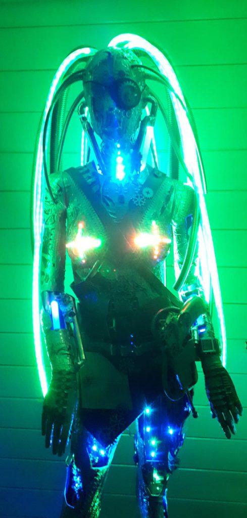 steam punk light sculpture of a robot