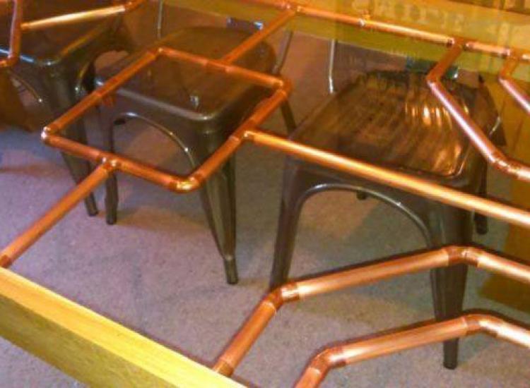 steampunk copper pipe table