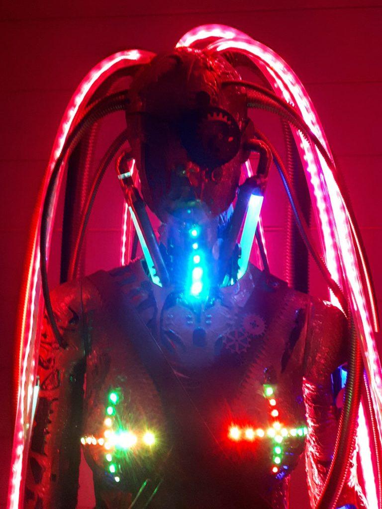 steampunk cyberpunk light sculpture art