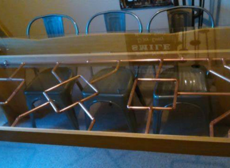 steampunk copper pipe dining table